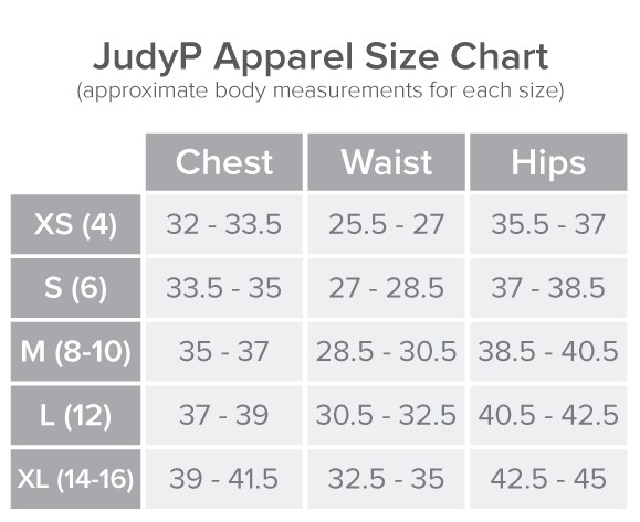 JudyP Size Chart