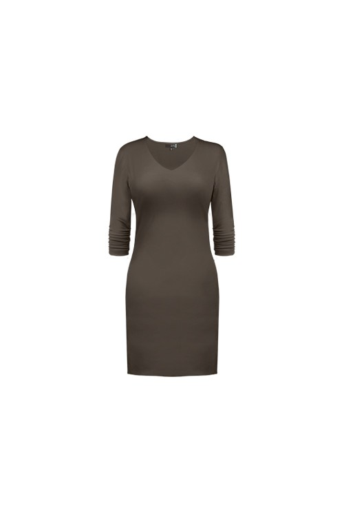 3-4-sleeve-v-neck-dress