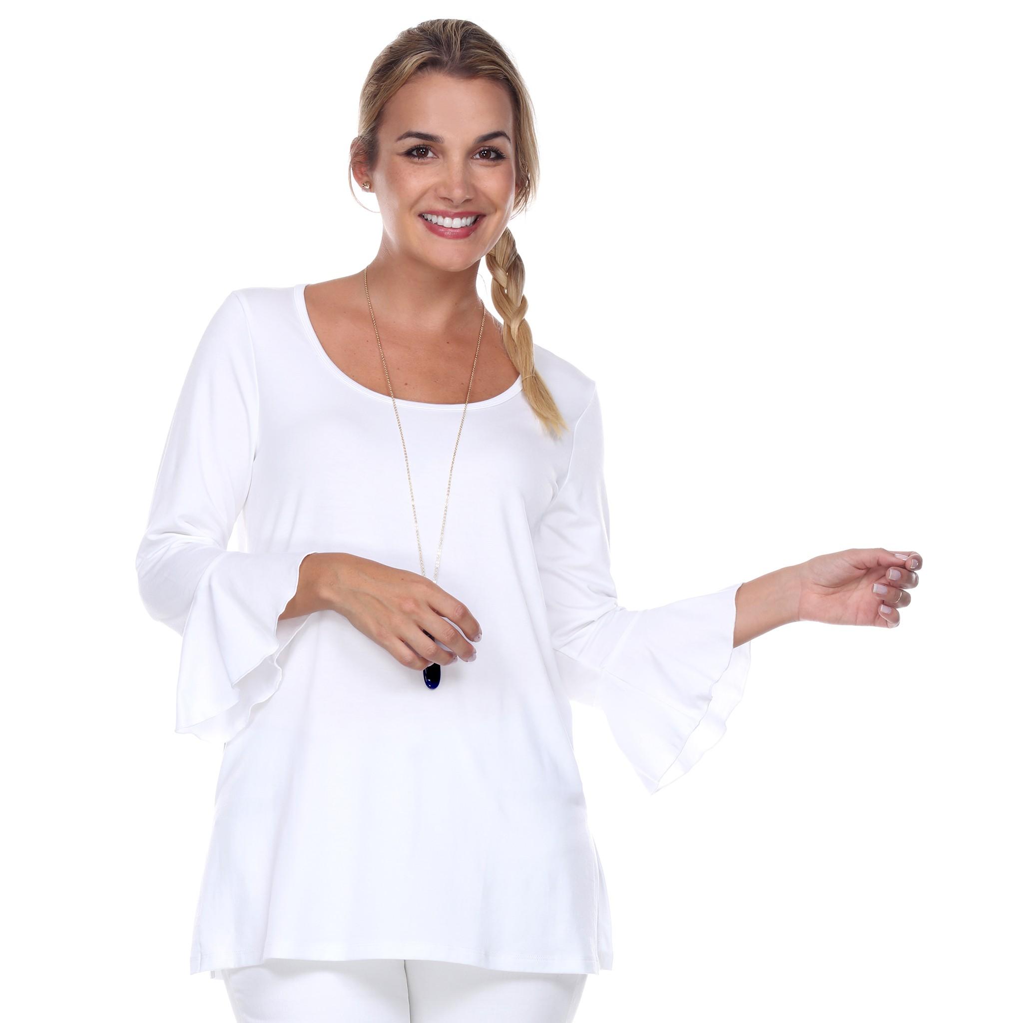 white-scoop-neck- 3/4-sleeve-tunic