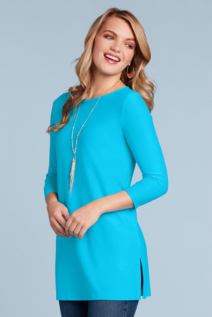 emma-3/4-sleeve-sabrina-neckline-women-tunic-long-top